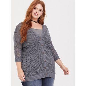 Torrid Gray Open Knit Boyfriend Cardigan Sweater